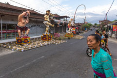 People during the celebration Nyepi - Balinese Day of Silence. Royalty Free Stock Photos