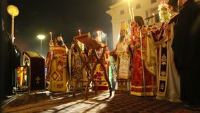 People during celebration of Orthodox Easter Holy Saturday is often the only time that the Midnight Office will be read in parishe stock video footage