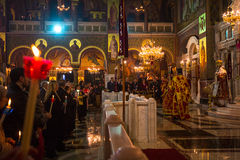 People during celebration of Orthodox Easter Holy Saturday is often the only time that the Midnight Office will be read in parishe Royalty Free Stock Photos