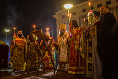 People during celebration of Orthodox Easter (Midnight Office of Pascha) Stock Image