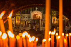 People during celebration of Orthodox Easter (Midnight Office of Pascha) Stock Photos
