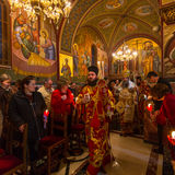 People during celebration of Orthodox Easter (Midnight Office of Pascha) Royalty Free Stock Image