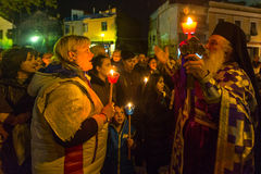 People during the celebration of Orthodox Easter - Vespers on Great Friday Royalty Free Stock Photo
