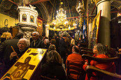 People during the celebration of Orthodox Easter - Vespers on Great Friday Royalty Free Stock Photos