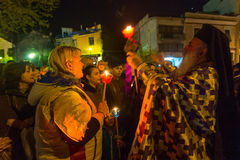 People during the celebration of Orthodox Easter - Vespers on Great Friday Stock Photography