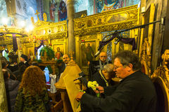 People during the celebration of Orthodox Easter - Vespers on Great Friday Royalty Free Stock Image