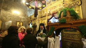 People during the celebration of Orthodox Easter - Vespers on Great Friday (the Epitaphios in Greek served in Good Friday evening) stock video