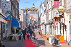 People on the celebratory street on  in Dordrecht, Netherlands Stock Image