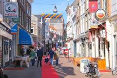 People on the celebratory street on  in Dordrecht, Netherlands Stock Image