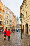 People at Celetna Street in Old Town in Prague Stock Photo
