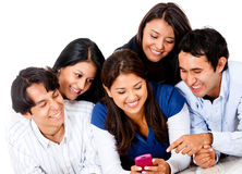 People with a cell phone Royalty Free Stock Photo