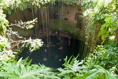 People in the cenote, Mexico Stock Photography