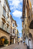 People at central shopping street in Meran, Italy Royalty Free Stock Image