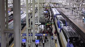 People at the Central Station in Seoul, Korea. People coming to the KTX train at the Central Station in Seoul, Korea stock footage