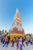 People ceremony to worship the beautiful at Wat Phra Thatphanom Royalty Free Stock Photography