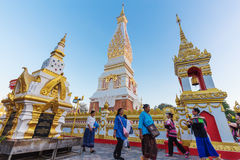 People ceremony to worship the beautiful at Wat Phra Thatphanom Royalty Free Stock Image