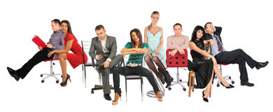 People on chairs collage Stock Photo