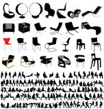People and chairs collection Royalty Free Stock Photo