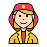 Fire woman job avatar people character. People, character, avatar icon set with many kind of jobs Royalty Free Stock Photo