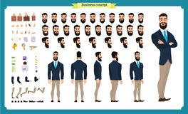 People character business set. Front, side, back view animated character. Businessman character. Creation set with various views, face emotions, poses and royalty free illustration