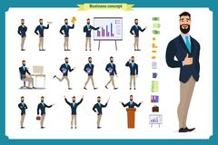 Young businessman.Different poses and emotions, running, standing, sitting, walking, happy, angry. royalty free illustration