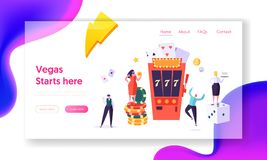 People Character Over Casino Slot Machine Win Jackpot Landing Page. Male and Female Hold Money Sign. Online Casino. Fortune Game Concept Website or Web Page royalty free illustration