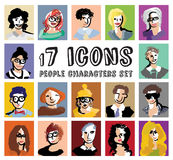 People characters avatars icons set. Royalty Free Stock Photography