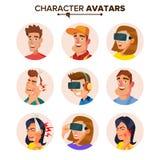 People Characters Avatars Set Vector. Cartoon Flat  Illustration Stock Photos