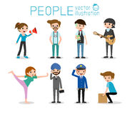 People characters, large group of people,People in various lifestyles, people characters. Large group of people, vector background Stock Image