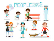 People characters, large group of people, People in various lifestyles. Vector background Stock Image