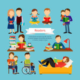 People characters reading book or magazines. Group of men with books. People characters reading book or magazines set vector illustration in flat style royalty free illustration