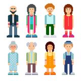 People characters set. Colorful pixel art style. Vector illustration. Men and women of all ages standing on white background Stock Illustration