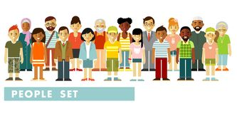 People characters set in flat style isolated on white background. Different people smiling characters stand together in a row Stock Photography