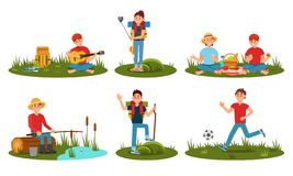 People Characters Spending Time At Summer Camp In Deep Forest. Cartoon Flat Vector Illustration Stock Photo