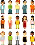People characters stand set in flat style isolated on white background Stock Photo