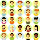 People characters stand set in flat style isolated on white background Royalty Free Stock Image