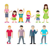 People Characters Vector Illustrations Set. People cartoon characters set. Men, women and boys and girls in casual clothes standing in different poses flat Royalty Free Stock Photography