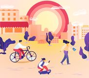People Characters Walking in City at Summertime. vector illustration
