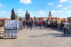 People at Charles Bridge in Prague Royalty Free Stock Images