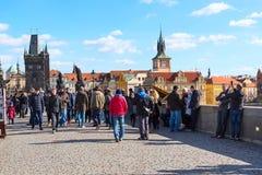 People at Charles Bridge in Prague Royalty Free Stock Photo