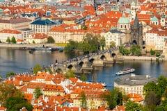People on Charles Bridge, Prague, Czech Republic Stock Photos