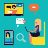 People on chat. Vector illustrations  People on chat Royalty Free Stock Photography