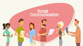 People Chat Digital Device Tablet Phone Laptop Social Network Communication. Flat Vector Illustration royalty free illustration