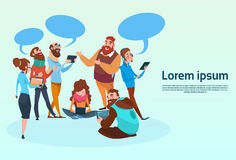 People Chat Digital Device Tablet Phone Laptop Social Network Communication. Flat Vector Illustration Stock Photos