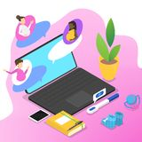 People chat on the forum in internet stock illustration