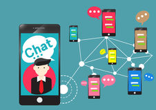People chat room community app for smartphone Stock Photo