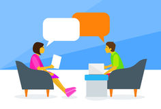 People Chat Sitting Man and Woman Talking. Discussing Chat Communication Flat Vector Illustration Stock Photos