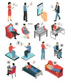 People Chatting Isometric Icons Set Royalty Free Stock Photography