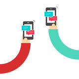 People chatting with mobile phones vector, hands with smartphones and messages chat, messaging with cellphone, sms. People chatting with mobile phones vector Royalty Free Stock Photo