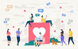 People Chatting in Social Network Vector Concept. Social Network Community, Digital Marketing Flat Vector Concept. People with Cellphones, Laptop Chatting Online royalty free illustration